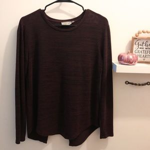RD Style Burgundy Long Sleeve Top with Open Back